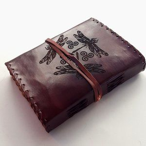 Celtic Dragonfly Leather Journal Unlined Handmade